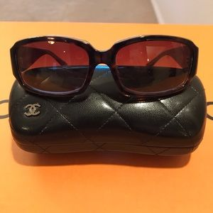 Chanel Tortoise Color Sunglasses W/Large CC Logo